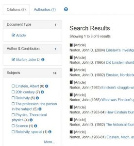 Search results page facet list